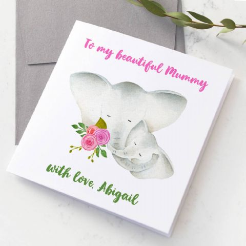 Personalised Elephant Mum And Baby Hugging Card